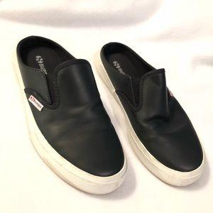 Superga black leather slip on slides